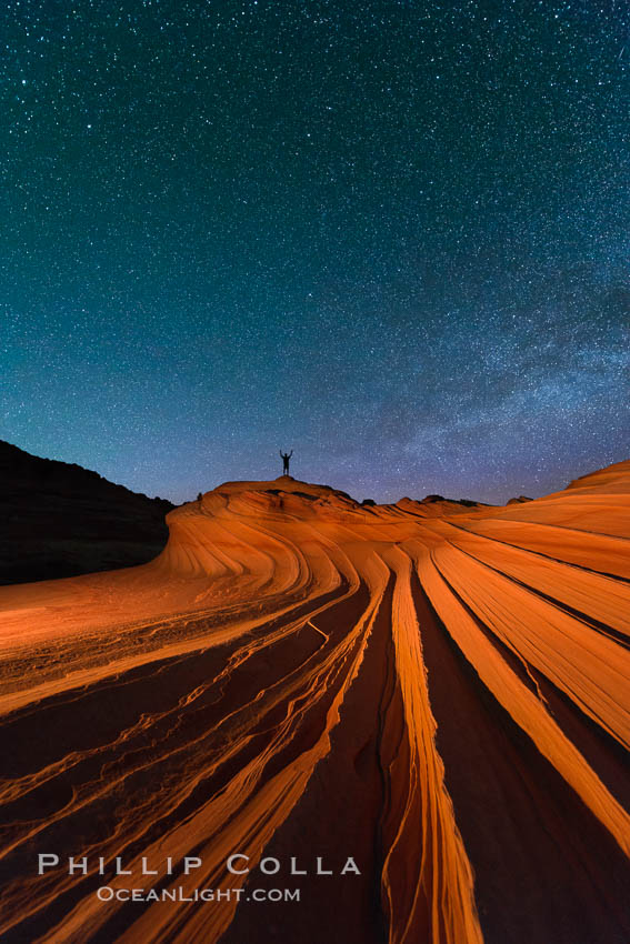 The Second Wave at Night.  The Second Wave, a spectacular sandstone formation in the North Coyote Buttes, lies under a sky full of stars. North Coyote Buttes, Paria Canyon-Vermilion Cliffs Wilderness, Arizona, USA, natural history stock photograph, photo id 28630
