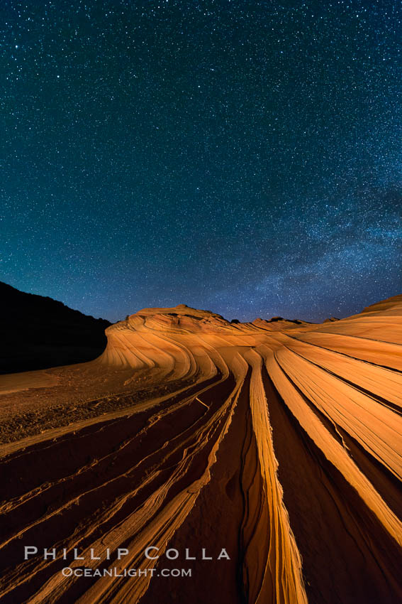 The Second Wave at Night.  The Second Wave, a spectacular sandstone formation in the North Coyote Buttes, lies under a sky full of stars. Paria Canyon-Vermilion Cliffs Wilderness, Arizona, USA, natural history stock photograph, photo id 28629