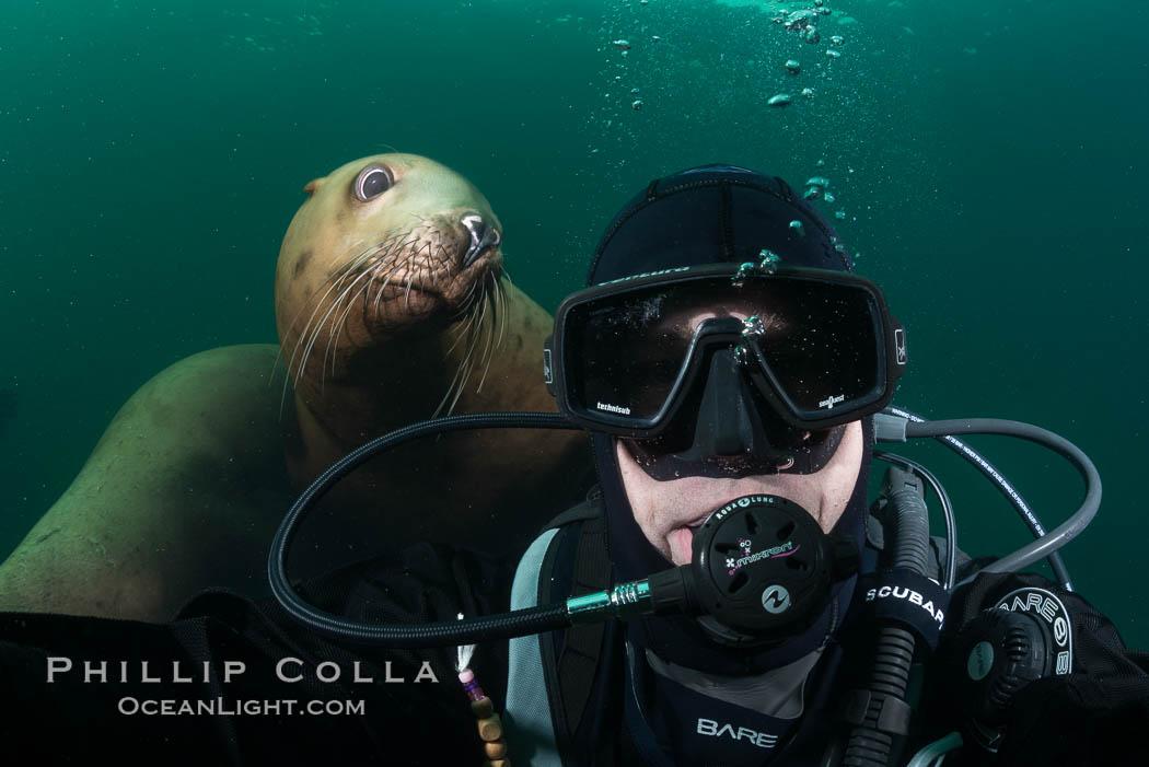 Image 32795, Selfie with Steller sea lion underwater, Norris Rocks, Hornby Island, British Columbia, Canada. Hornby Island, British Columbia, Canada, Eumetopias jubatus