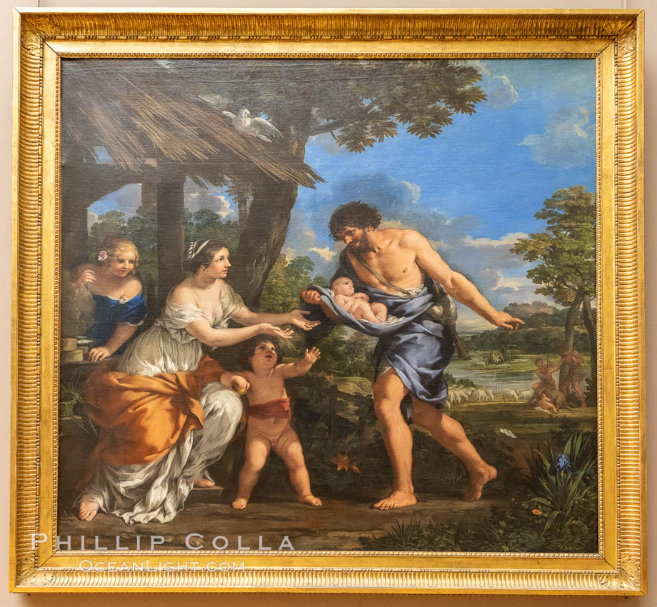 The Shepherd Faustulus Bringing Romulus and Remus to his Wife, Nicolas Mignard (1654), Mus�e du Louvre, Paris. Musee du Louvre, France, natural history stock photograph, photo id 35609