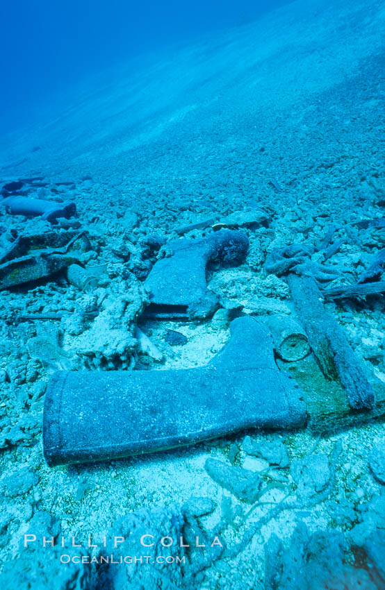 Debris from wreck of F/V Jin Shiang Fa, lagoon floor and talus slope. Rose Atoll National Wildlife Sanctuary, American Samoa, USA, natural history stock photograph, photo id 00792