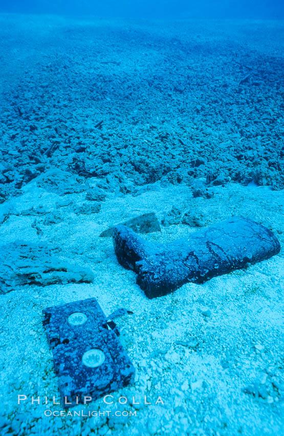 Debris from wreck of F/V Jin Shiang Fa. Rose Atoll National Wildlife Sanctuary, American Samoa, USA, natural history stock photograph, photo id 00803