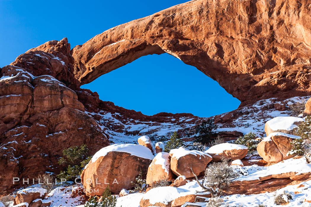 South Window, eastern face, sunrise, winter. South Window, Arches National Park, Utah, USA, natural history stock photograph, photo id 18151