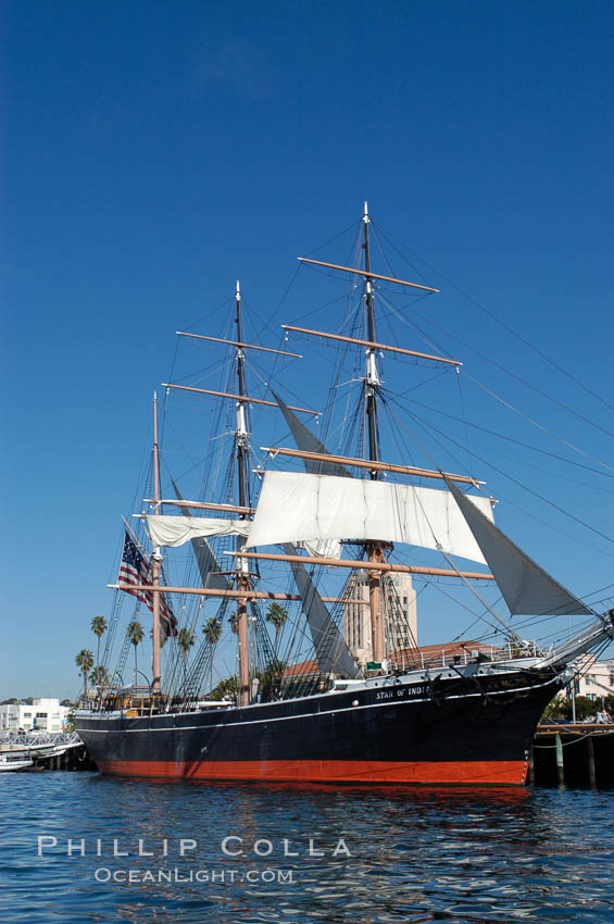 Image 07619, The Star of India is the worlds oldest seafaring ship.  Built in 1863, she is an experimental design of iron rather than wood.  She is now a maritime museum docked in San Diego Harbor, and occasionally puts to sea for special sailing events. California, USA, Phillip Colla, all rights reserved worldwide. Keywords: boat, california, historical, maritime, sailboat, san diego, ship, star of india, usa, water.