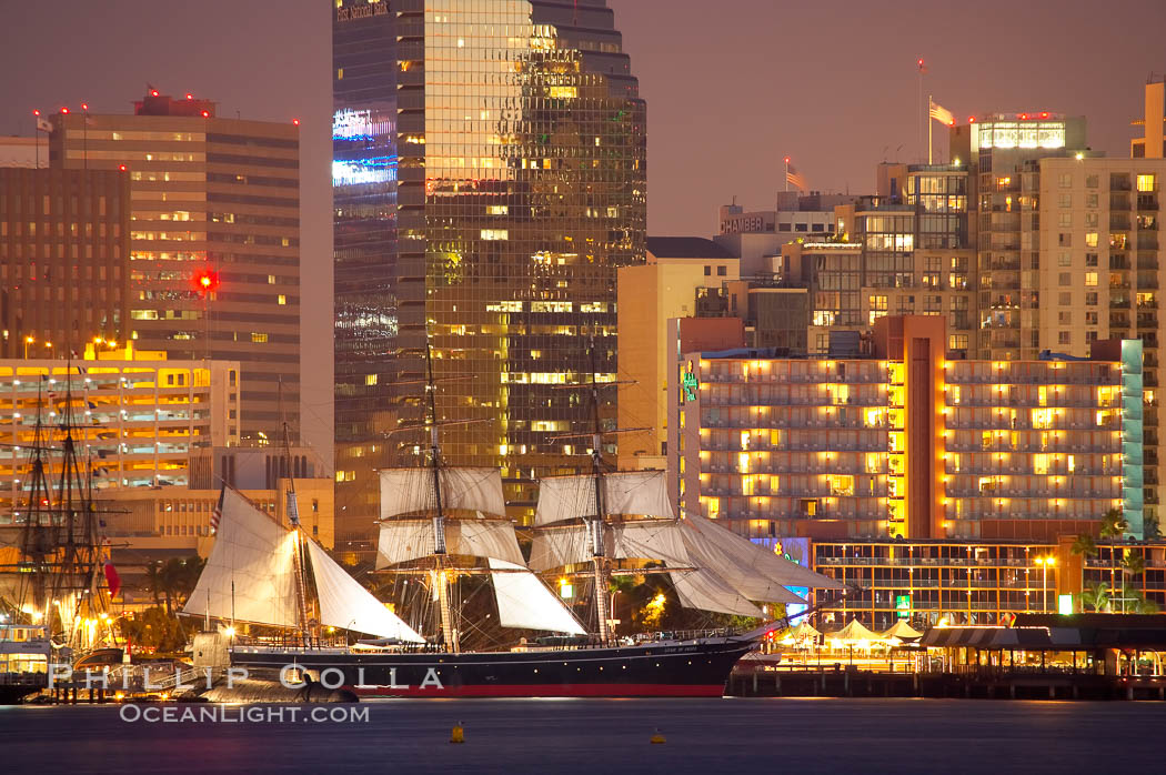 The Star of India is tied to her dock along the waterfront of San Diego harbor. San Diego, California, USA, natural history stock photograph, photo id 14530