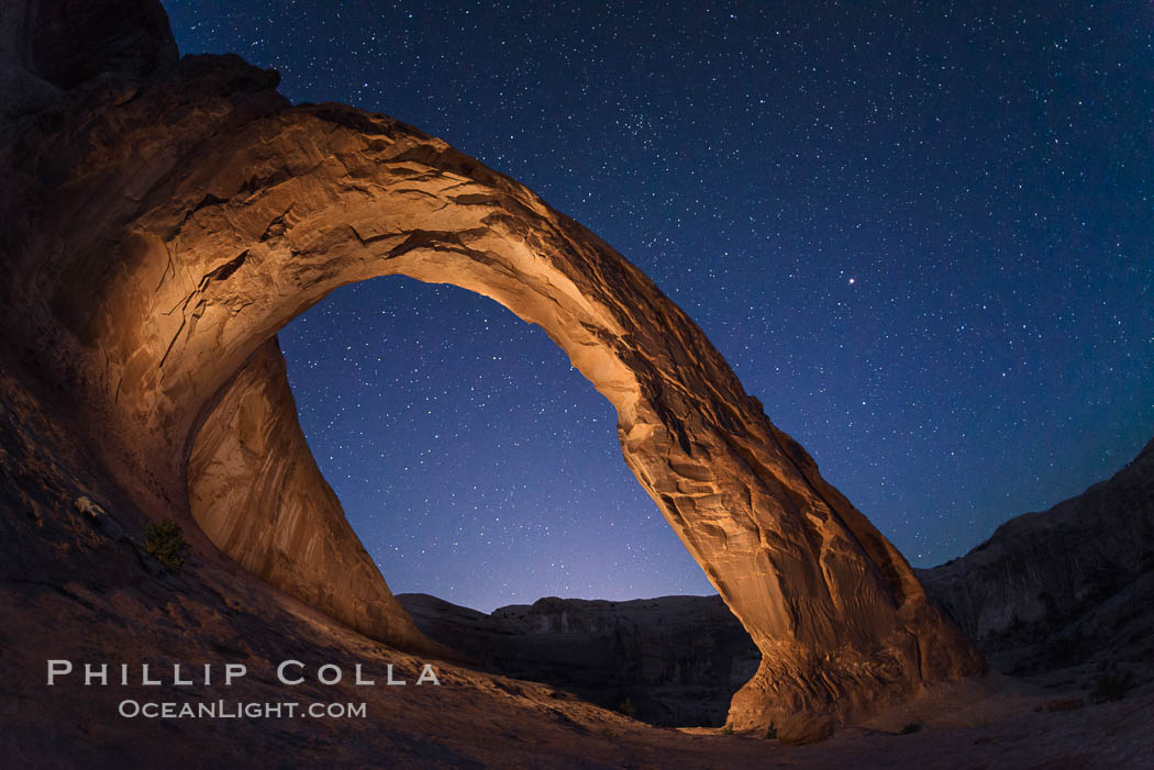 Stars over Corona Arch at Night, Moab, Utah. USA, natural history stock photograph, photo id 29247
