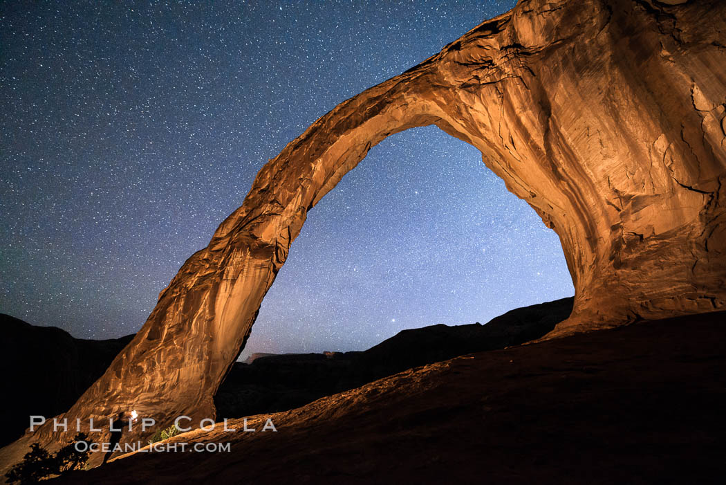 Stars over Corona Arch at Night, Moab, Utah. USA, natural history stock photograph, photo id 29241