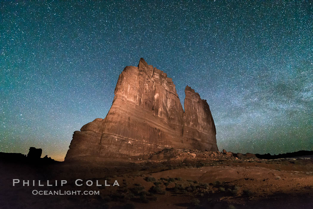Stars over the Organ, Arches National Park. Courthouse Towers, Arches National Park, Utah, USA, natural history stock photograph, photo id 29271