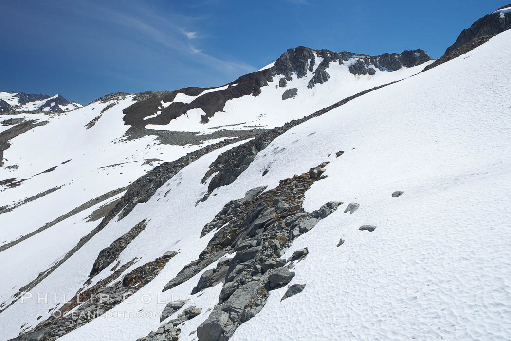 Summer snow pack, Whistler Mountain. Whistler, British Columbia, Canada, natural history stock photograph, photo id 21021
