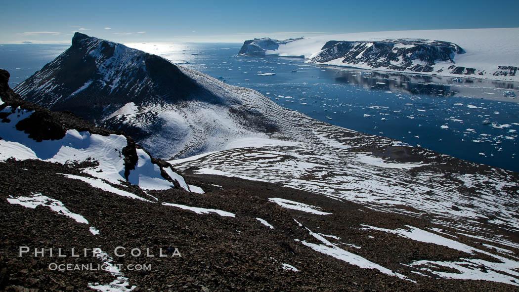 Summit of Devil Island, with Vega Island in the distance. Devil Island, Antarctic Peninsula, Antarctica, natural history stock photograph, photo id 24786