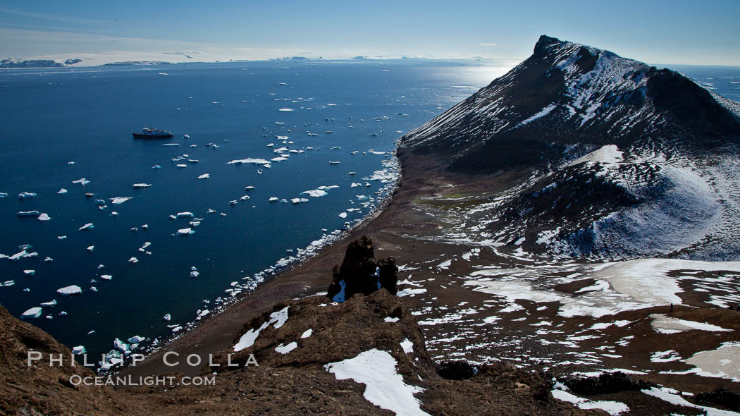 Summit of Devil Island with portions of the Erebus and Terror Gulf region of the Weddell Sea in the background. Antarctic Peninsula, Antarctica, natural history stock photograph, photo id 24816