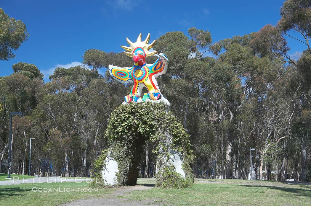 Sun God is a strange artwork, the first in the Stuart Collection at University of California San Diego (UCSD).  Commissioned in 1983 and produced by Niki de Sainte Phalle, Sun God has become a landmark on the UCSD campus. University of California, San Diego, La Jolla, California, USA, natural history stock photograph, photo id 12838