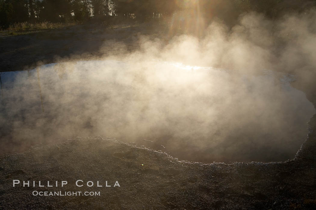 Sunlight and steam, early morning. Lower Geyser Basin, Yellowstone National Park, Wyoming, USA, natural history stock photograph, photo id 13567