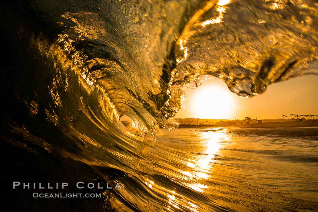 Sunrise breaking wave, dawn surf. The Wedge, Newport Beach, California, USA, natural history stock photograph, photo id 27983
