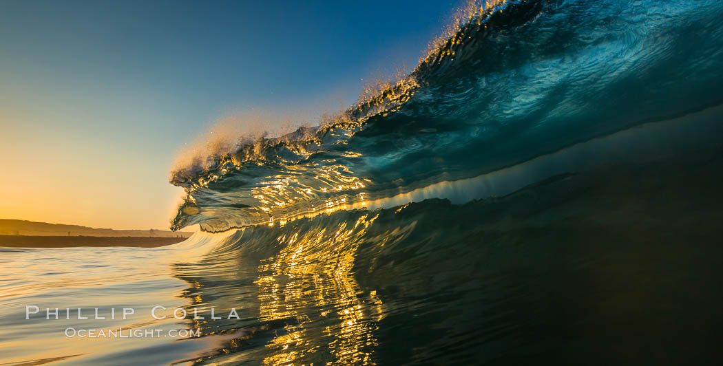 Sunrise glints yellow on breaking wave, dawn surf. The Wedge, Newport Beach, California, USA, natural history stock photograph, photo id 27977