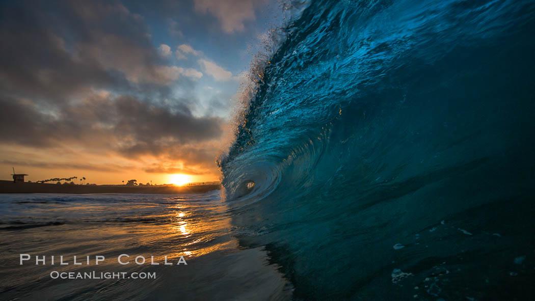 Sunrise breaking wave, dawn surf. California, USA, natural history stock photograph, photo id 27993