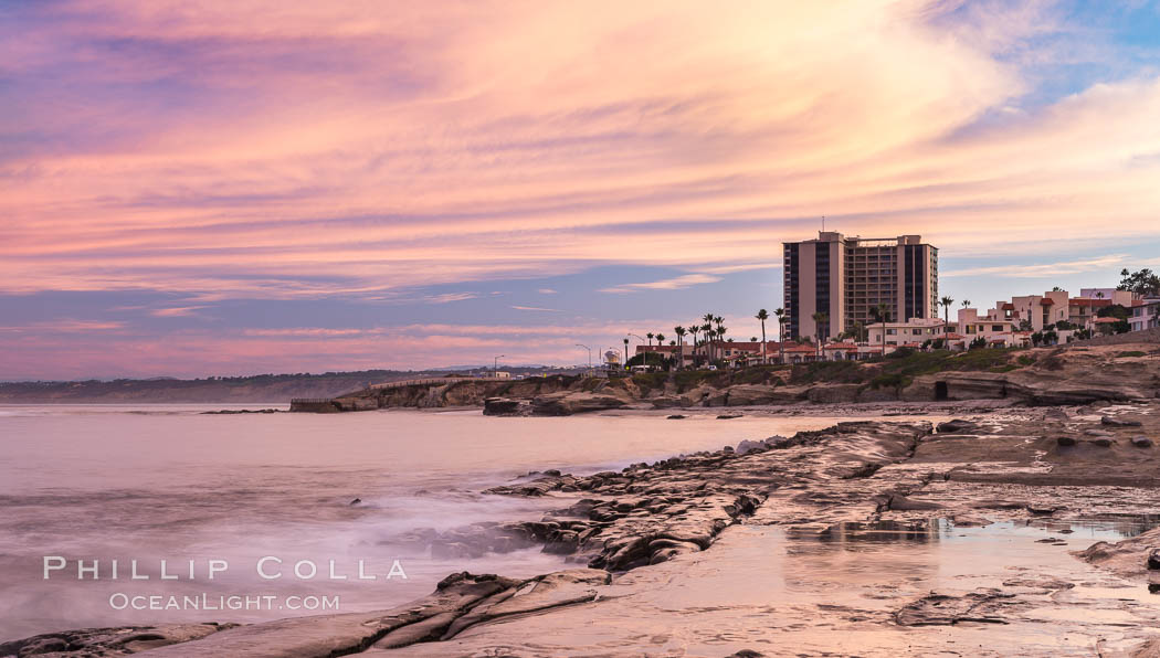Sunrise Clouds and Surf, Hospital Point, La Jolla. La Jolla, California, USA, natural history stock photograph, photo id 28831