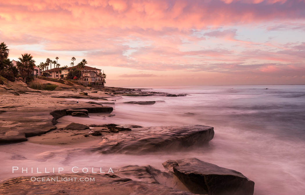 Sunrise Clouds and Surf, Hospital Point, La Jolla. La Jolla, California, USA, natural history stock photograph, photo id 28835