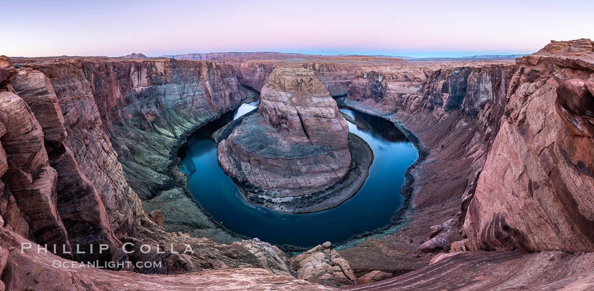 Predawn light on Horseshoe Bend. The Colorado River makes a 180-degree turn at Horseshoe Bend. Here the river has eroded the Navajo sandstone for eons, digging a canyon 1100-feet deep. Page, Arizona, USA, natural history stock photograph, photo id 36005