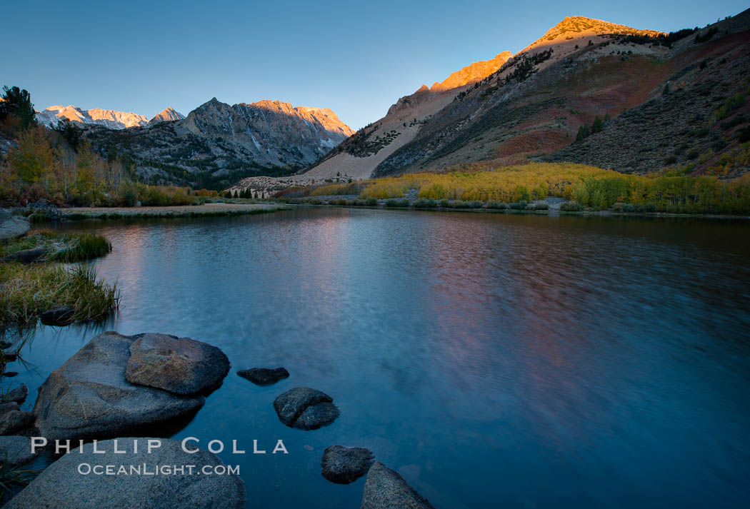 Sunrise on Paiute Peak, reflected in North Lake in the eastern Sierra Nevada, in autumn. Bishop Creek Canyon Sierra Nevada Mountains, Bishop, California, USA, natural history stock photograph, photo id 26059