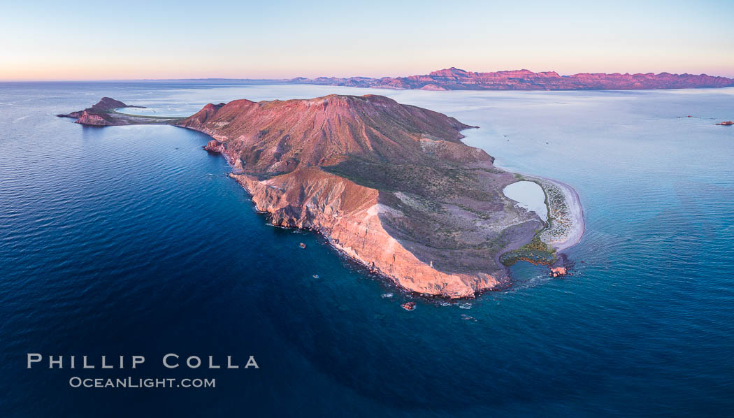 Predawn Sunrise Light over Isla San Francisquito, Aerial View, Sea of Cortez. Isla San Francisquito, Baja California, Mexico, natural history stock photograph, photo id 33769