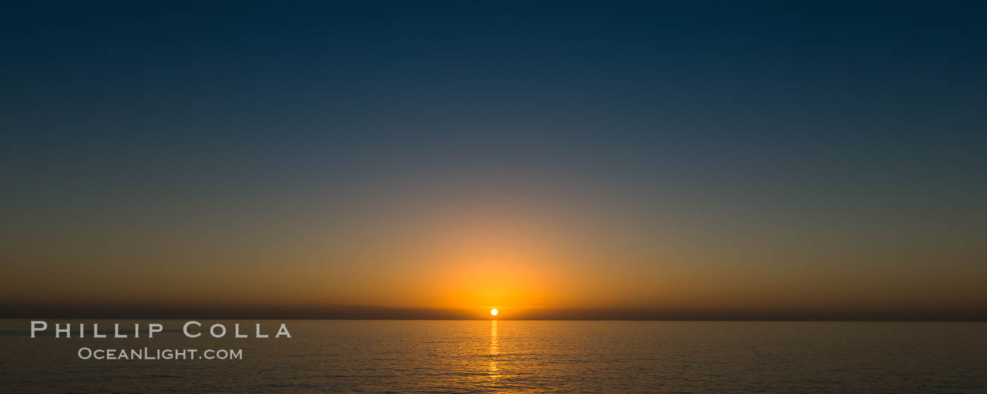 Sunrise over the Pacific Ocean, cloudless, viewed from Guadalupe Island. Guadalupe Island (Isla Guadalupe), Baja California, Mexico, natural history stock photograph, photo id 28774