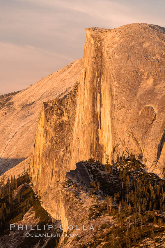 Sunset light on the face of Half Dome, Yosemite National Park