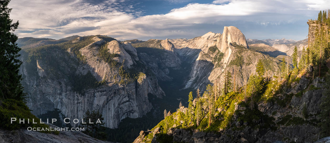 Sunset light on Half Dome and Clouds Rest, Tenaya Canyon at lower left, Yosemite National Park. California, USA, natural history stock photograph, photo id 36391