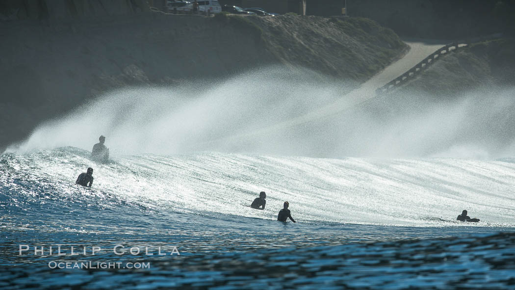 Surf and spray during Santa Ana offshore winds. San Diego, California, USA, natural history stock photograph, photo id 30462