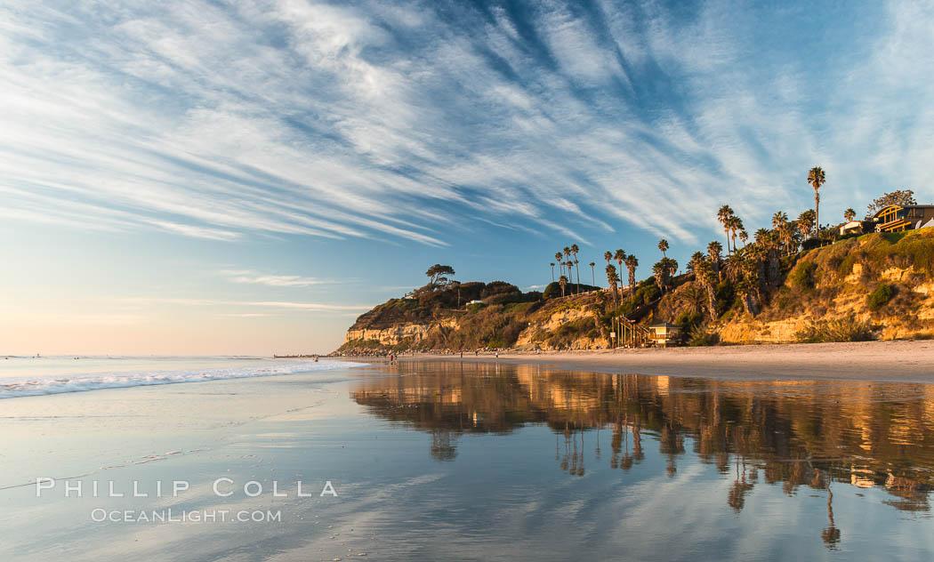 Swami's Beach at dusk, Encinitas. Encinitas, California, USA, natural history stock photograph, photo id 28837