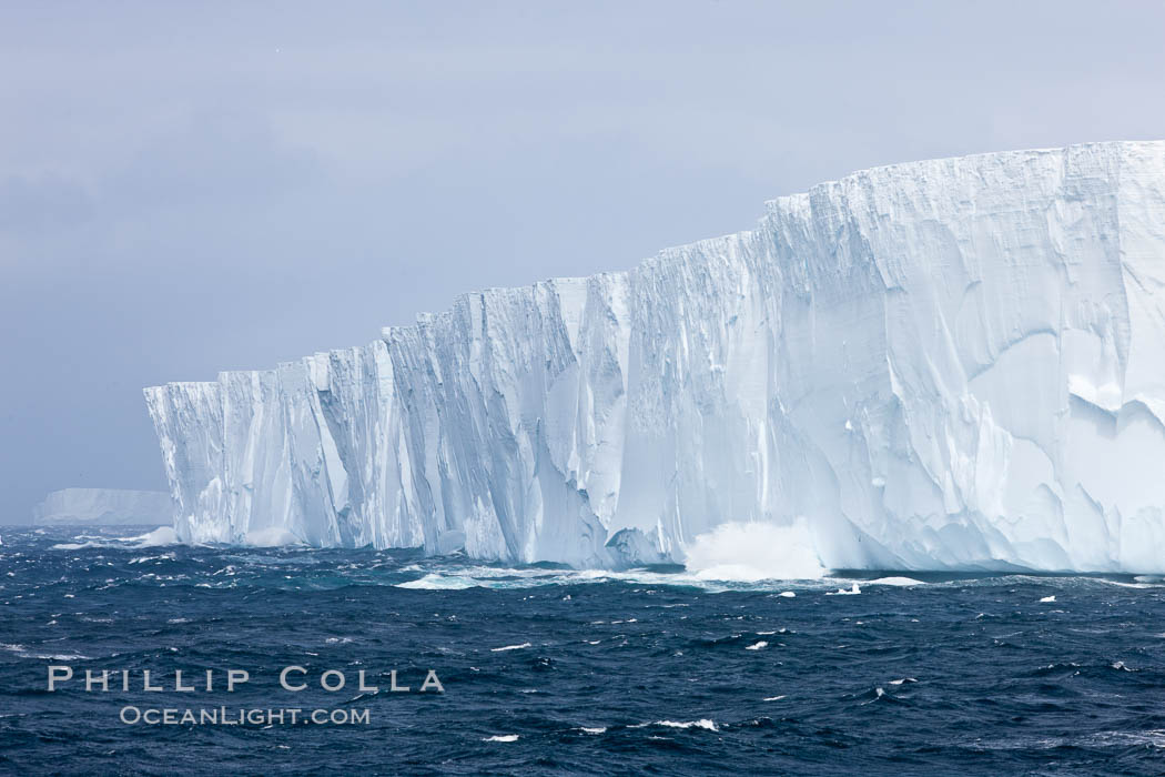 Tabular iceberg.  The edge of a huge tabular iceberg.  Tabular icebergs can be dozens or hundreds of miles in size, have flat tops and sheer sides. Scotia Sea, Southern Ocean, natural history stock photograph, photo id 24847