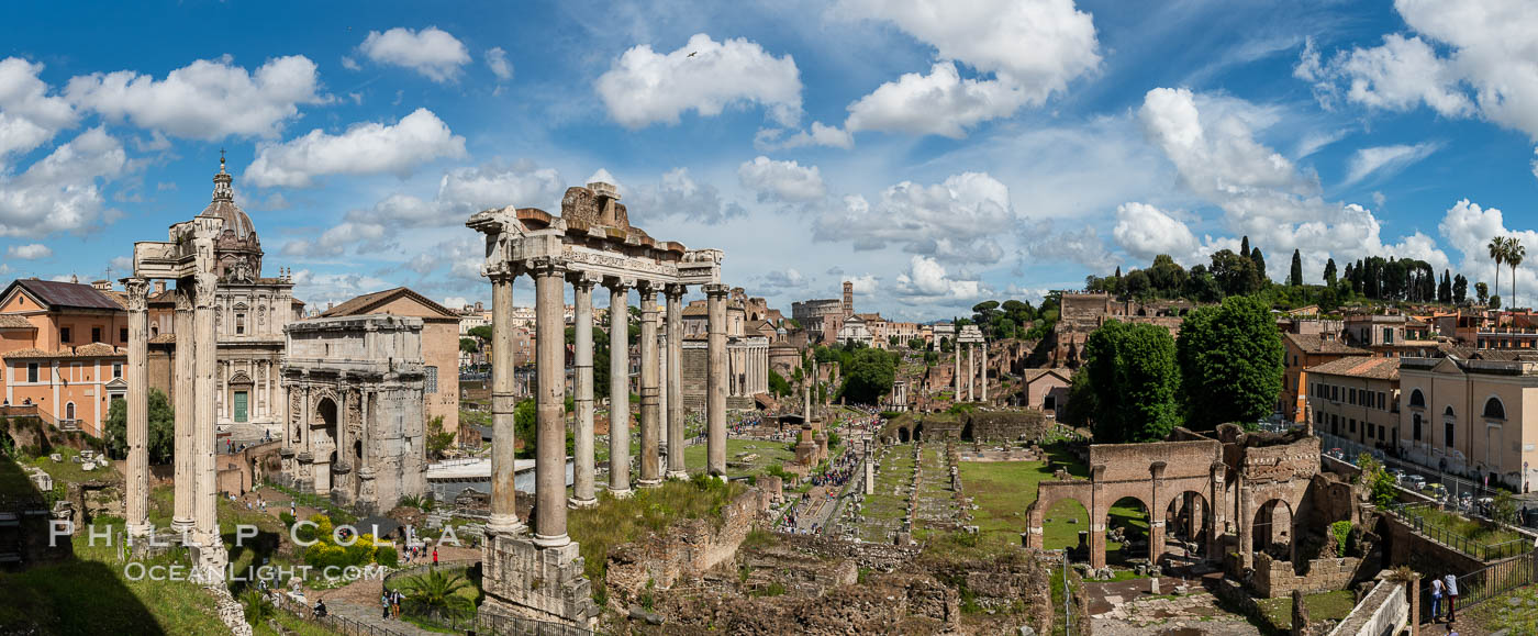 Temple of Saturn and the Roman Forum, Rome. Forum, Rome, Italy, natural history stock photograph, photo id 35598