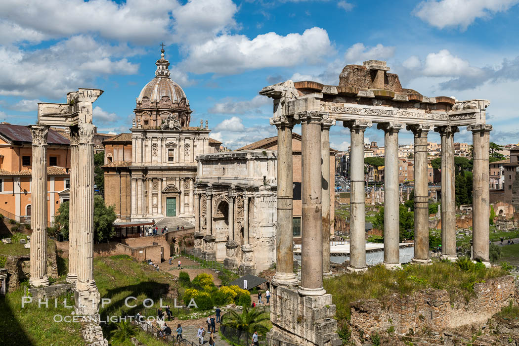 Image 35557, Temple of Saturn and the Roman Forum, Rome. Forum, Rome, Italy, Phillip Colla, all rights reserved worldwide. Keywords: forum, italy, roman forum, rome.