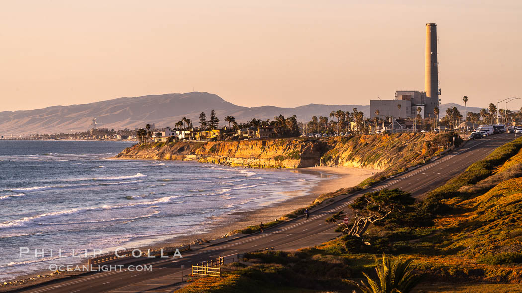 Sunset on Terra Mar and the Carlsbad coastline, looking north to Oceanside, Camp Pendleton and San Onofre., natural history stock photograph, photo id 36116