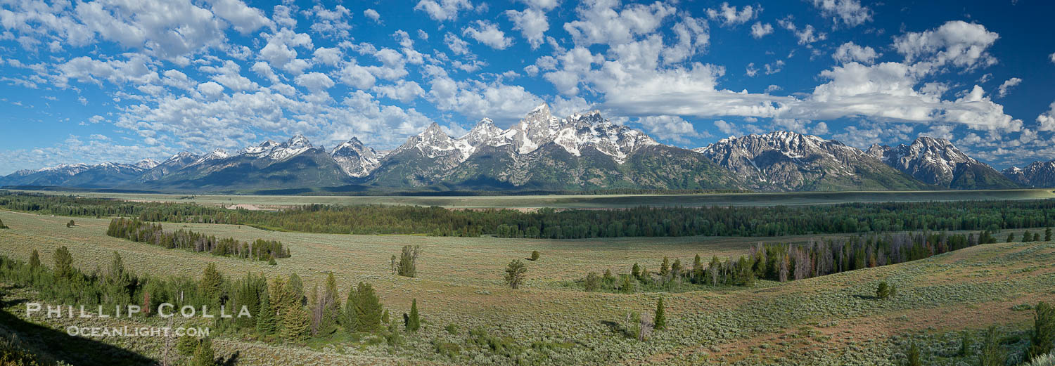 Panorama of the Teton Range, in Grand Teton National Park, Wyoming.  The Teton peaks are seen together at center with Mount Moran to the right.  The Snake River lies unseen in the valley below. USA, natural history stock photograph, photo id 26920
