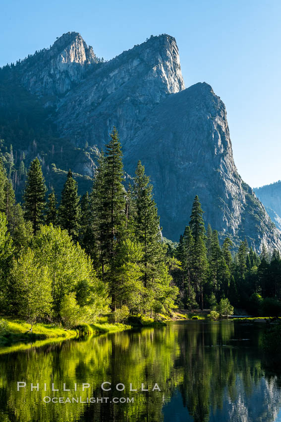 Three Brothers and Merced River in spring, Yosemite National Park