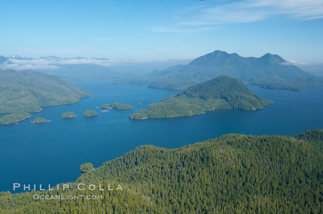 Flores Island (foreground) and Clayoquot Sound, aerial photo, near Tofino on the west coast of Vancouver Island. British Columbia, Canada, natural history stock photograph, photo id 21070
