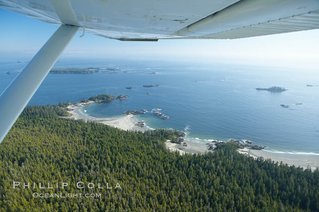 Cow Bay and Flores Island, aerial photo, part of Clayoquot Sound, near Tofino on the west coast of Vancouver Island. British Columbia, Canada, natural history stock photograph, photo id 21082