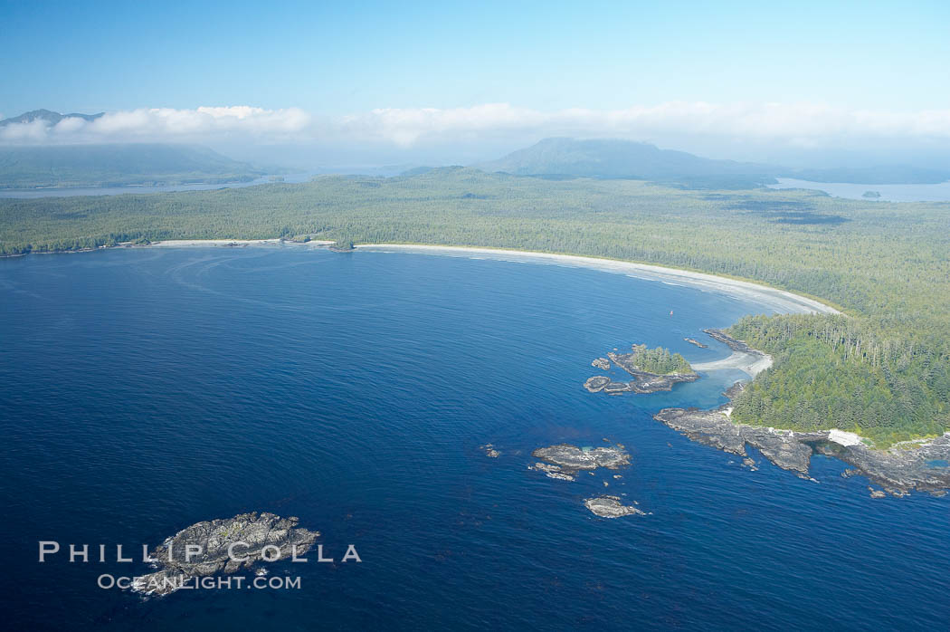 Ahouse Bay and Vargas Island, aerial photo, Clayoquot Sound in the foreground, near Tofino on the west coast of Vancouver Island. Tofino, British Columbia, Canada, natural history stock photograph, photo id 21112