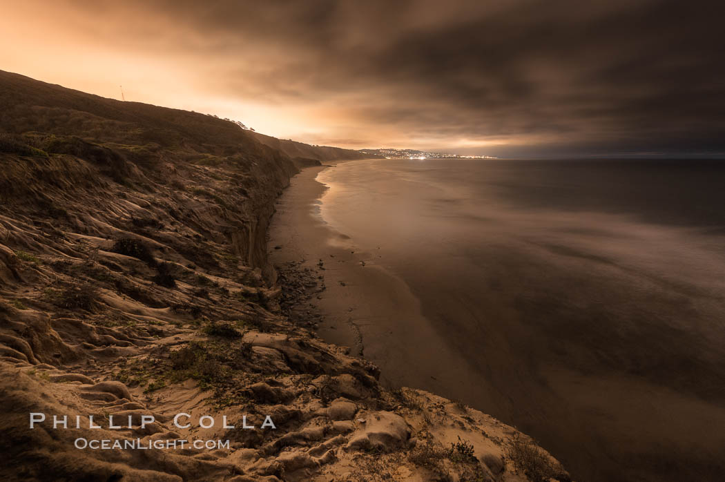 Torrey Pines and La Jolla Coast, Black's Beach, dusk. Torrey Pines State Reserve, San Diego, California, USA, natural history stock photograph, photo id 30288
