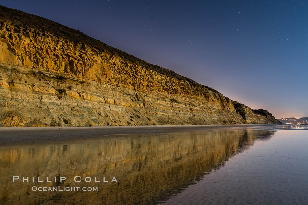 Torrey Pines Cliffs lit at night by a full moon, low tide reflections. Torrey Pines State Reserve, San Diego, California, USA, natural history stock photograph, photo id 28454