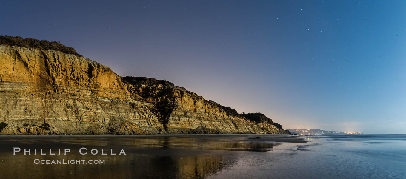 Torrey Pines Cliffs lit at night by a full moon, low tide reflections. Torrey Pines State Reserve, San Diego, California, USA, natural history stock photograph, photo id 28455