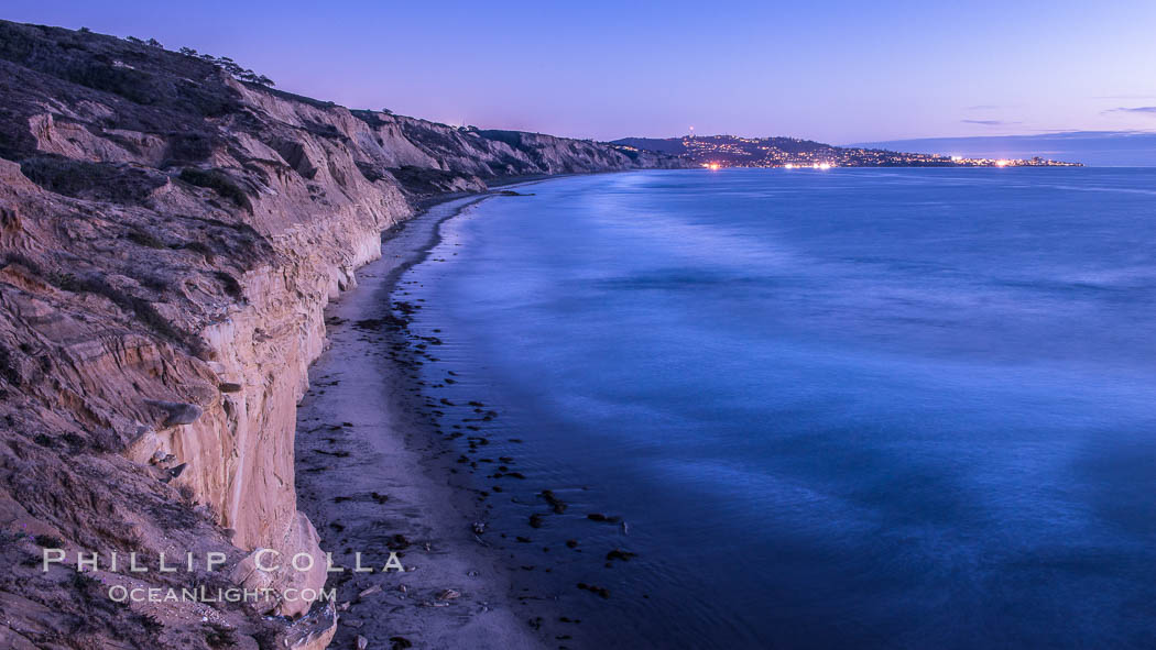 Torrey Pines cliffs at sunset. Torrey Pines State Reserve, San Diego, California, USA, natural history stock photograph, photo id 29112