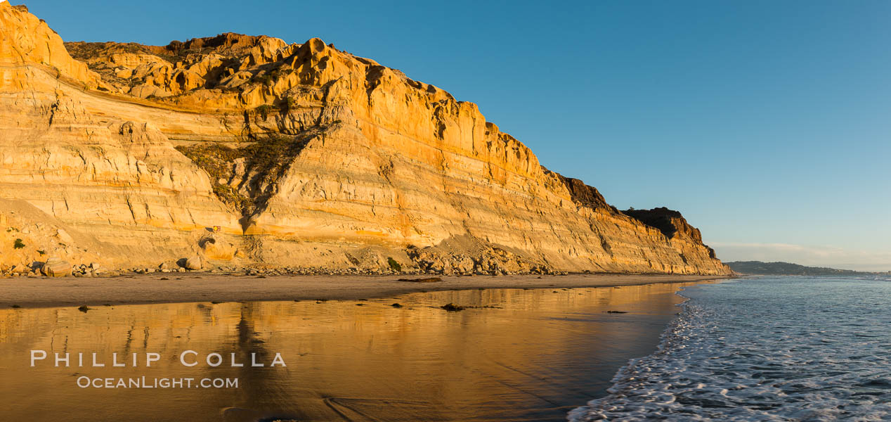 Torrey Pines cliffs at sunset. Torrey Pines State Reserve, San Diego, California, USA, natural history stock photograph, photo id 29109