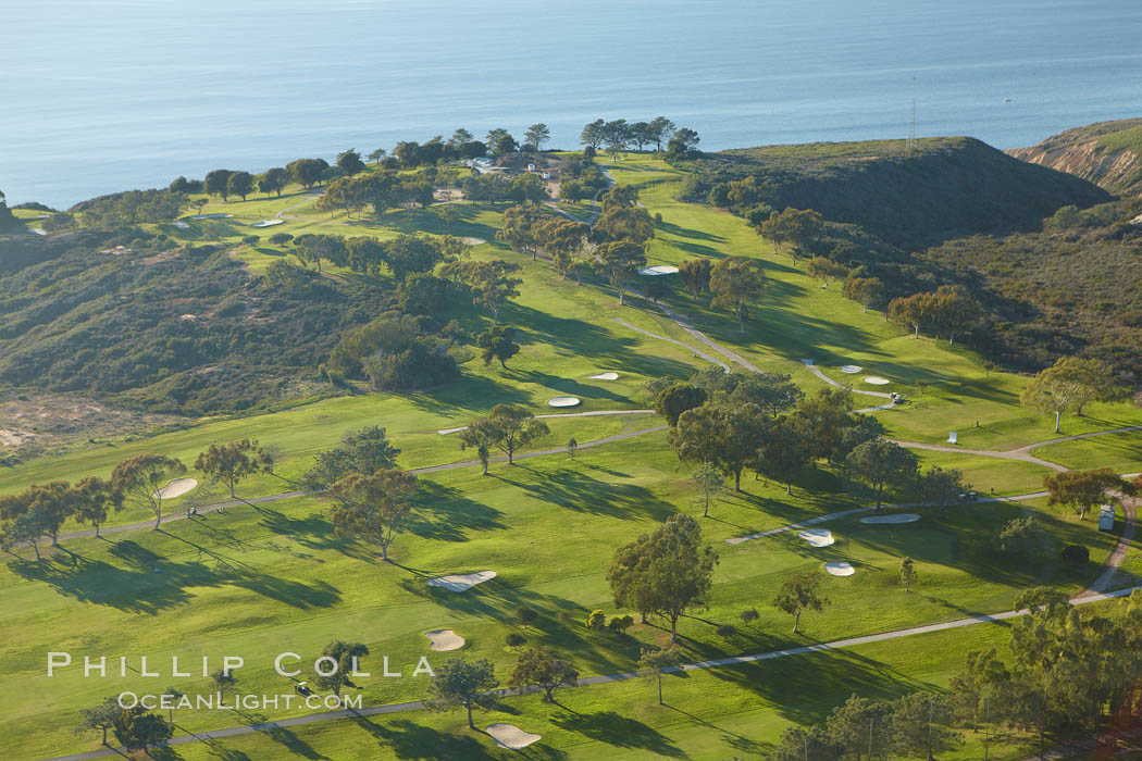 Torrey Pines Golf Course, the North course, with the Pacific Ocean in the distance. La Jolla, California, USA, natural history stock photograph, photo id 22375