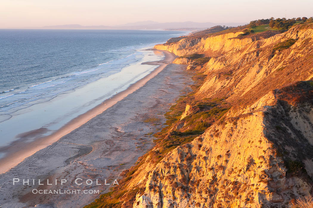 Sandstone cliffs at Torrey Pines State Park, viewed from high above the Pacific Ocean near the Indian Trail. Torrey Pines State Reserve, San Diego, California, USA, natural history stock photograph, photo id 14769
