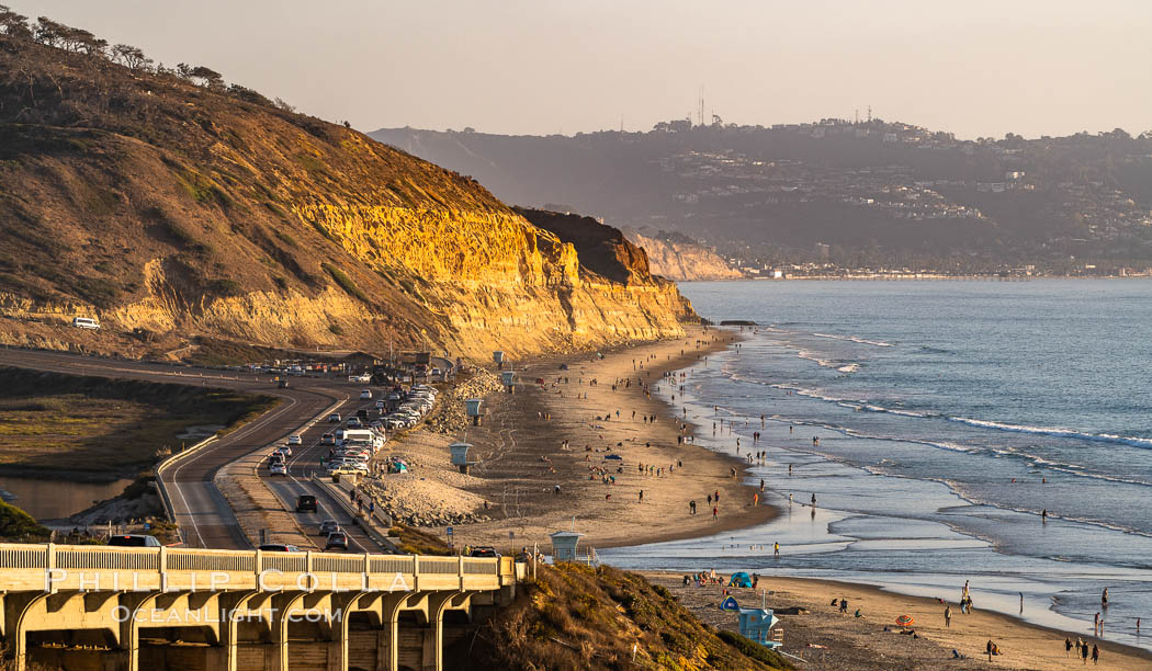 Torrey Pines State Beach at Sunset, La Jolla, Mount Soledad and Blacks Beach in the distance. Torrey Pines State Reserve, San Diego, California, USA, natural history stock photograph, photo id 35846