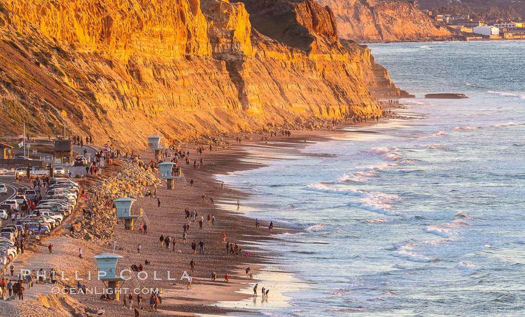 Torrey Pines State Beach at Sunset, La Jolla, Mount Soledad and Blacks Beach in the distance. Torrey Pines State Reserve, San Diego, California, USA, natural history stock photograph, photo id 35060