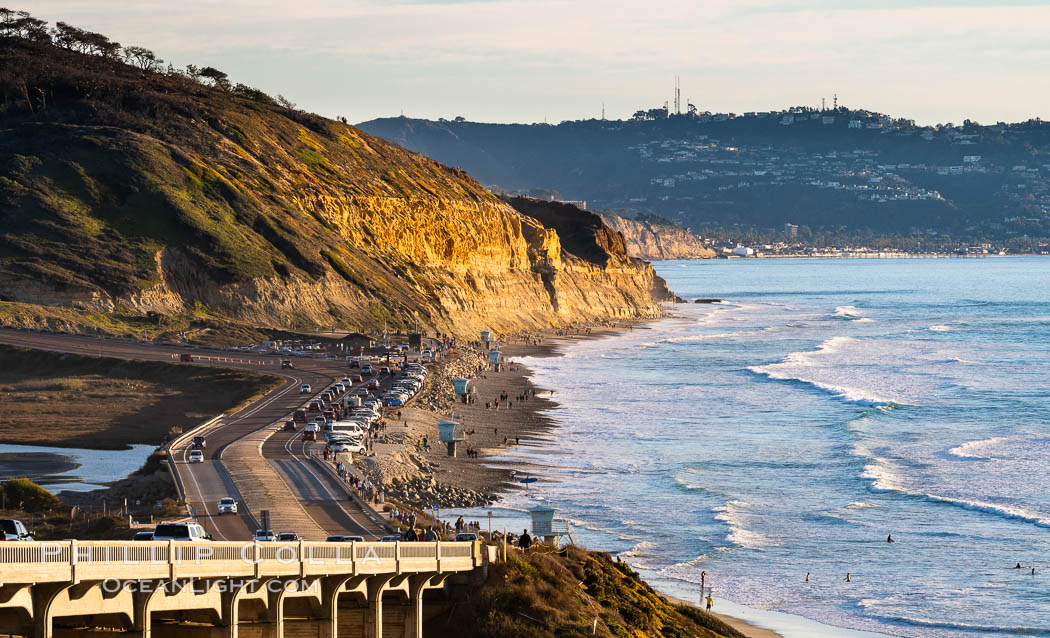 Torrey Pines State Beach at Sunset, La Jolla, Mount Soledad and Blacks Beach in the distance. Torrey Pines State Reserve, San Diego, California, USA, natural history stock photograph, photo id 35064
