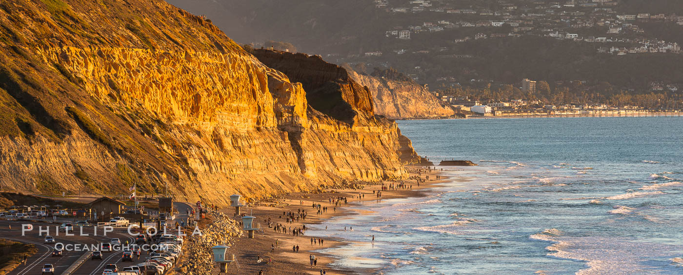 Torrey Pines State Beach at Sunset, La Jolla, Mount Soledad and Blacks Beach in the distance. Torrey Pines State Reserve, San Diego, California, USA, natural history stock photograph, photo id 35100